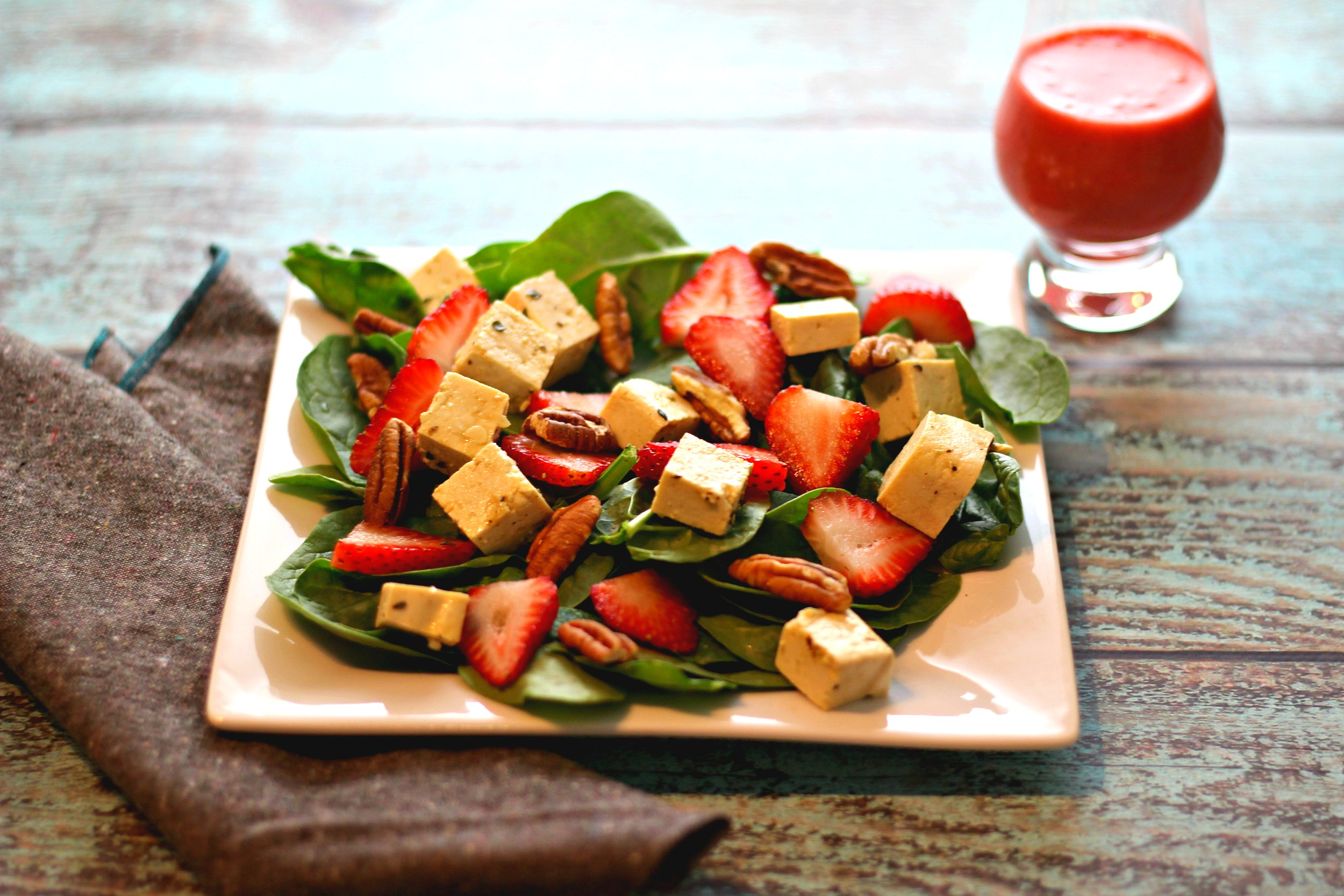 Strawberry Tofu Chopped Salad Recipe — Dishmaps
